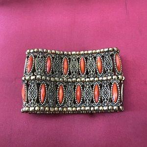 Jewelry - Gorgeous orange and antique gold stretch bracelet