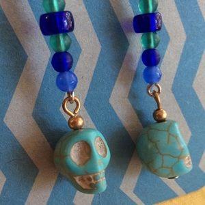 Hot Topic Jewelry - Turquoise Blue Beaded Skull Earrings Halloween