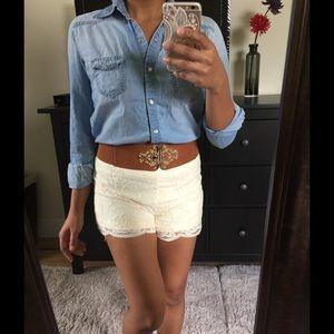 Pants - Lace High Waist Shorts