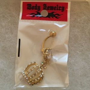 Jewelry - Crown with diamonds belly ring