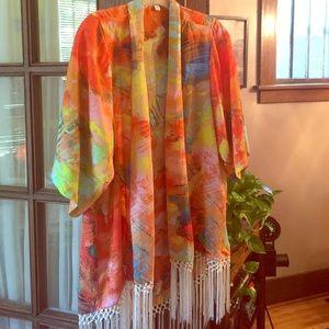 GBX Sweaters - Cardigan/shawl Boho oranges and multi color SZ S