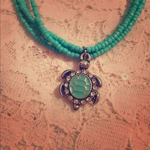 Boho Turquoise Turtle necklace.