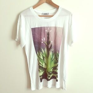 Pull&Bear Tops - Cactus Tee with White Semitransparent  Sleeves