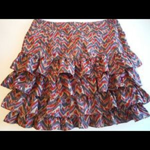 Banana Republic multi color ruffle skirt Size 8