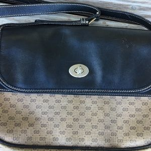 Gucci Vintage Authentic Leather Monogram Handbag