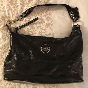Black crinkly patent leather shoulder bag