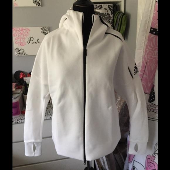 NWT Women Adidas ZNE Hoodie Zip Up White size XL 1b20b7203b