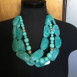 Turquoise color statement necklace