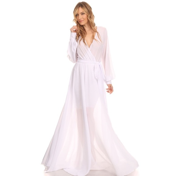 🇱🇷 White Chiffon Long Maxi Dress Plus Size 3X Boutique