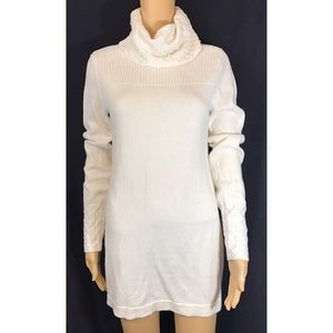 WHBM oversized white sweater/tunic with ribbing