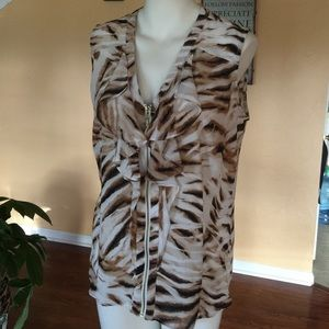 Milano Tops - Animal print zipper front top size med