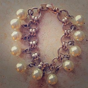 Accessory Collective Jewelry - White Faux Pearl Link Bracelet
