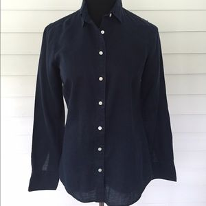 J. Crew perfect fit navy linen button down--size 2