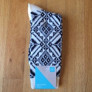 GAP Nordic Boot Socks in Navy/Cream Print OS NWT