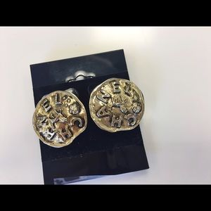 Authentic Chanel Vintage No.23 Lion Clip Earrings