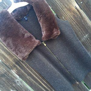 Gap Faux Fur Collared Vest Sweater