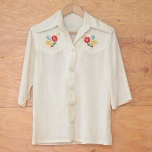 Vintage 70's White Gauze Blouse Floral Embroidery
