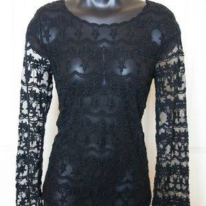 Black Longsleeve sheer Lace Swim Cover Goth Boho S
