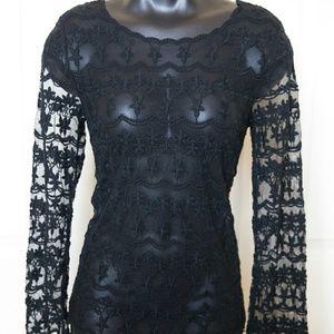 Black Longsleeve sheer Lace Swim Cover Goth Boho S