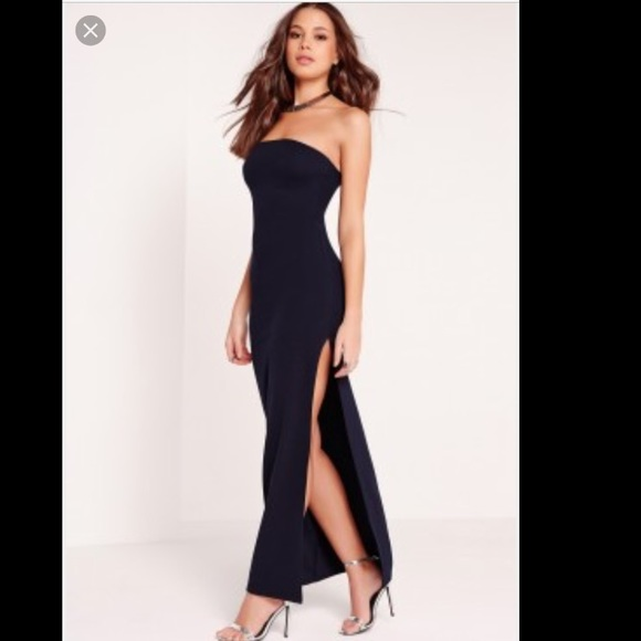 Strapless maxi dress with slit