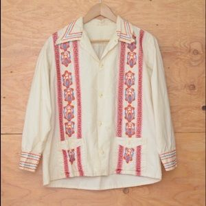 Vintage 70's Mexican Ethnic Embroidered Top SZ M