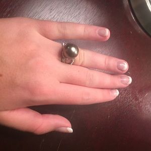 Faux Gray Pearl ring