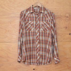 Vintage Rust Red White Plaid Button Up Top SZ M