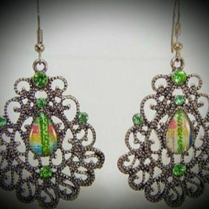 Flourishing Teardrop Earrings in Green
