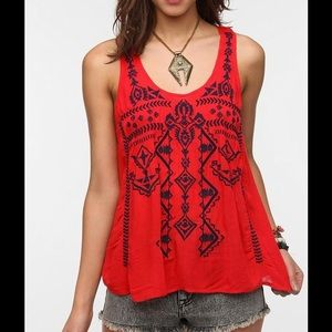 Urban Outfitters Ecote Split Back Embroidered Tank