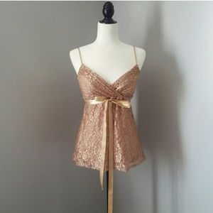 Onyx Tops - ROSE GOLD LACE & SEQUINS TOP
