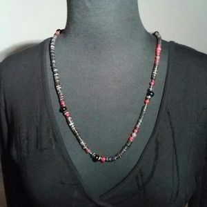 hand made Jewelry - Black & red mixed media vintage necklace