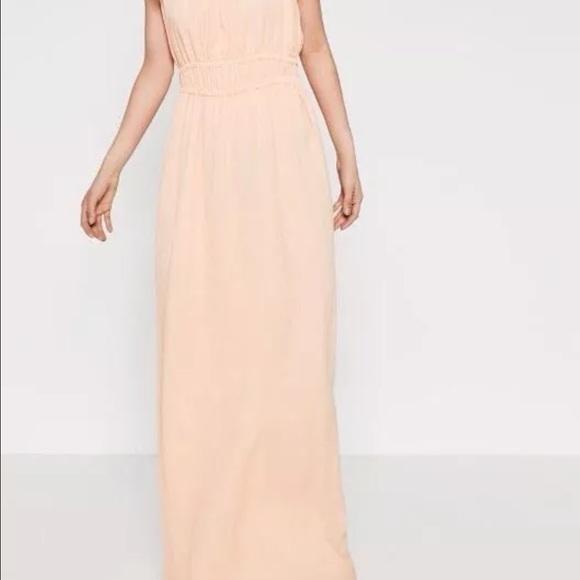 Zara Dresses & Skirts | Long Maxi Nude Pink Dress Cape Sleeve | Poshmark