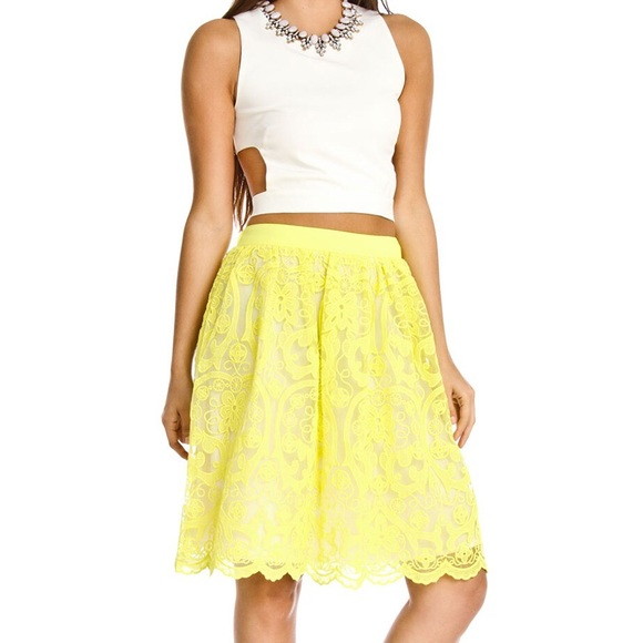 2a695fe649273 Lucy Paris Neon Yellow Lace Skirt