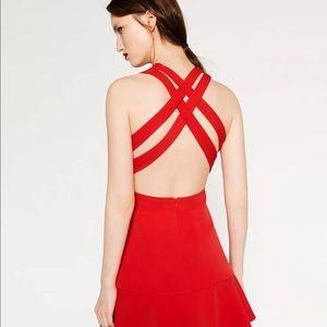 Zara Sexy Sleeveless Red Skater Dress, Frilled Ham
