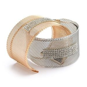 Cuff Bracelet with Rhinestones Silver or Gold
