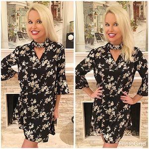 Dresses & Skirts - Beautiful black floral print hi lo dress!