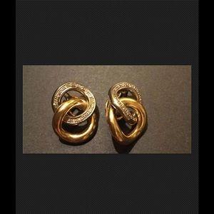 Jewelry - 18K WHITE & YELLOW GOLD DIAMOND LINK EARRINGS