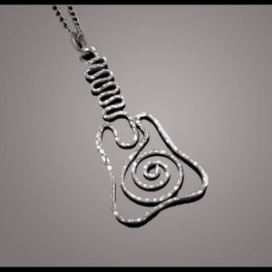 JUST IN! 🎸Hammered Silver Guitar Necklace🎸