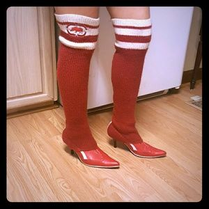 Ecko Red pumps with leg warmers/tube socks