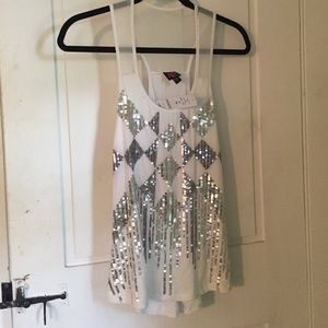 bebe Tops - White sparkly tank size x small/fits like a small