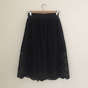 Megz Dresses & Skirts - Lace Flared Midi Skirt With Shorts Underneath