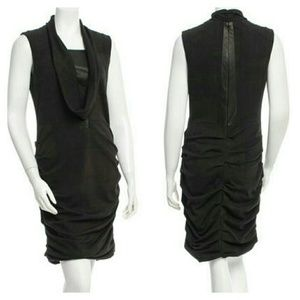 Yigal Azrouel Dresses & Skirts - Yigal Azrouel Cowl Neck Sheath Dress w/ Leather