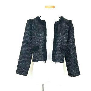 Covington Jackets & Blazers - Boucle Jacket w/ Velvet & Fringe Details