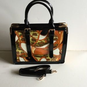 Patent leather tote&shoulder bag