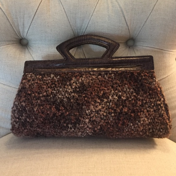 Brown Textured Clutch Bag