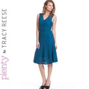 PLENTY BY TRACY REESE Blue Godet Dress Sz XS / P