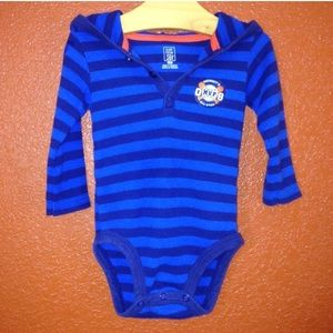 Carters Blue Striped Thermal Long Sleeve 6 Mon
