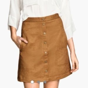 87bfd9ed14 H&M Skirts | Hm Faux Suede Button Up Skirt Tan Size 2 | Poshmark