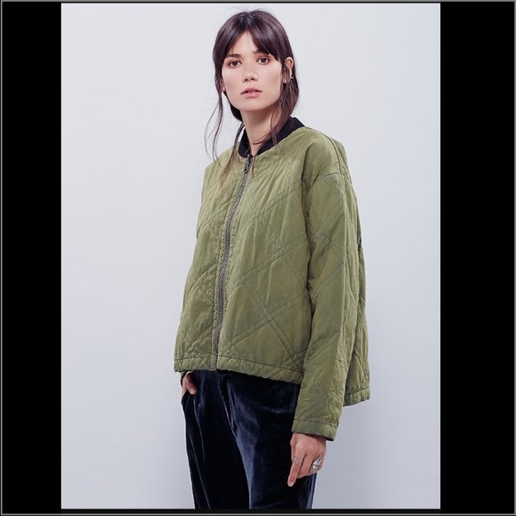Free People - 🎉SALE🎉 Free People Green Quilted Bomber Jacket ...