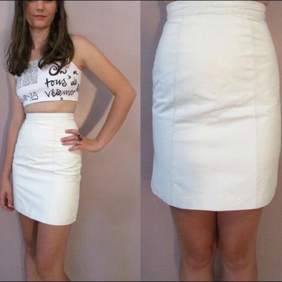 Skirts - Vintage white leather skirt